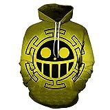 Ywfzzxs 3D Hoodies Anime HD Gedruckt Sweatshirts Langarm Große Taschen Pullover Unisex Top Baseballuniform ONE Piece Luffy