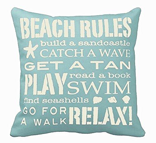 Queen's designer Kissenbezug, Motiv Beach Rules by The Seashore, Baumwolle, Leinen, quadratisch, dekorativ, 45,7 x 45,7 cm, SchwarzWeiß Grau,