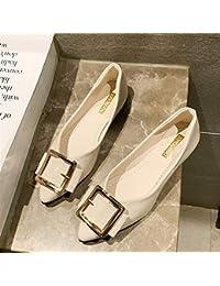 Zapatos planos para mujer con punta redonda simple y versátil, con parte inferior suave y cómoda, boca poco profunda (color blanco arroz)