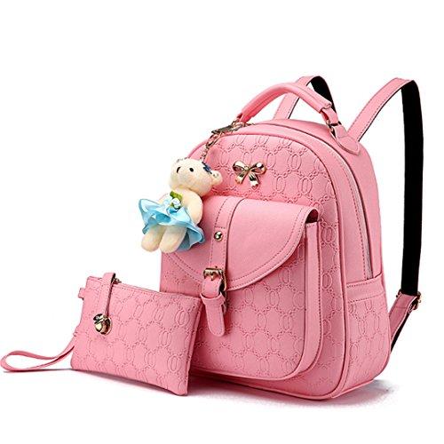 Wewod Damen kleine Leder Rucksack Daypack Freizeitrucksack Schulrucksack Schultasche mit Bär anhänger 27x 32x 14cm (Rosa) (Camouflage-rucksack Rosa)