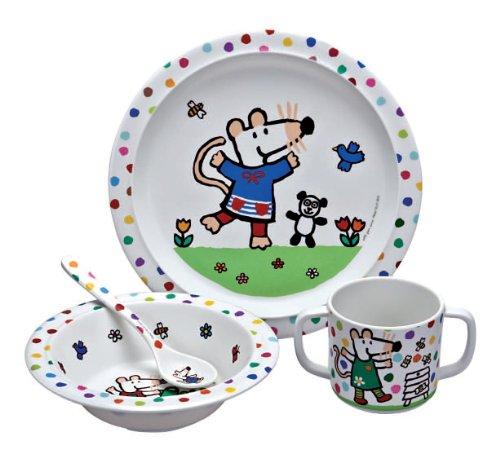 Petit Jour - Set da pranzo in melammina, soggetto: Maisy Mouse in giardino, 4 pezzi - Mouse Pranzo