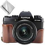 First2savvv Dunkelbraun Gehäusehälfte Präzise Passform PU-Leder Kameratasche Fall Tasche Cover für Fuji Fujifilm X-T100 XT100 - XJD-XT100-D10G11