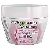 Garnier Crema Viso 3 in 1, Idratante, Lenitiva, con Acqua di Rosa, per Giorno, Notte e Maschera