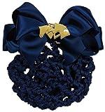 Haarnetz mit Satin Schleife und Brosche mit Perle (Pferdekopf goldfarben) (schwarz - gold)