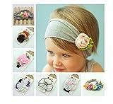 Butterme 6 Pack Baby Cotton Stretch Hübsche Rose Tulpe Blumen Stirnband Säuglingshaar Webart Haarreif neugeborenes Stirnband Kopftuch Baby Accessoires (6 Pack)