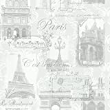 Arthouse VIP Paris Silver Wallpaper 692001 - Parisienne Eiffel Arc de Triomphe by Arthouse