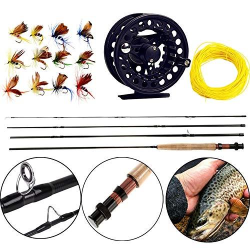 # 06.05 Fly Fishing Rod Set 2.7M Fliegenrute und Fliegenrolle Combo mit Fischköder Linie Box Set Angelruten-Gerät, Schwarz