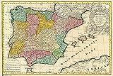 Close Up Mapa Antiguo De España Poster Antike Karte von