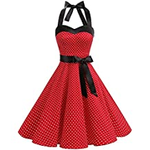 a2d38e13693 LUBITY Robe de Bal Polka Vintage pin-up à  Audrey Hepburn  50 s 60 s