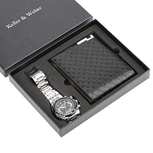 Klassische Casual Uhren Weihnachten Geschenk Set für Männer, Liebhaber Quarzuhr für Jungen, Freund, Klassische Geldbörse für Vater und Ehemann