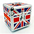 "Gorilla 12"" LP Vinyl Record Storage Box Flight Carry Case Holds 100pcs Union Jack - Includes Lifetime Warranty"