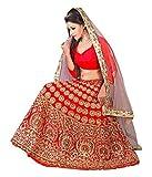 Krishna Emporia Women's Red Designer Leh...