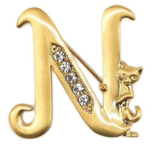 Spilla iniziale 'N' gatto/pietre placcato oro e