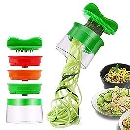 Affetta Verdure Affettatrice a Spirale Spiralizzatore Spiralizer Creativo Taglierina Mano con 3 Lame, Vegetali…