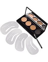 VALUE MAKERS 4 Colour Makeup Eyebrow Powder Kit   4 Eyebrow Stencils   Eyebrow Brush - Make Up Eyebrow Powder Palette with Eyebrow Stencil Template
