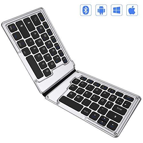 Jelly Comb Bluetooth Tastatur, Kabellose Wiederaufladbare Faltbare Tastatur für Tablets, PCs, Laptops und Smartphones, QWERTZ Deutsches Layout für Android, iOS, Windows, Schwarz und Silber