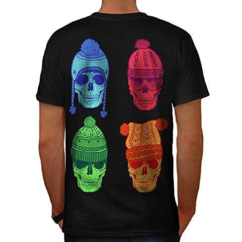Winter Hut Mode Schädel Kostüm Kunst Herren M T-shirt Zurück   Wellcoda (Clown Kostüme Ziel)