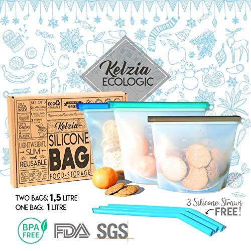 Kelzia - Bolsas de silicona reutilizables para guardar alimentos con 3 pajitas de silicona. Bolsa para cocinar, almuerzo, aperitivos, sándwich