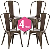 Silla Tolix Style - Silla Industrial Metálica Bronce (Pack de 4)