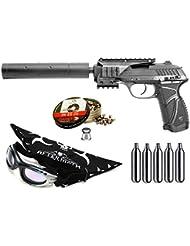 Pack pistola Perdigón Gamo PT-85 4,5mm Blowback Socom. Potencia 2 Julios + gafas antivaho + pañuelo cabeza decorado, + balines + bombonas co2