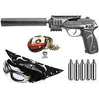 Pack pistola Perdigón Gamo PT-85 4,5mm Blowback Socom + gafas + pañuelo cabeza decorado, + balines + bombonas co2