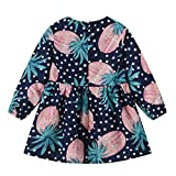 LEXUPE Bekleidung Kleinkind Baby Kinder Mädchen Langarm Dot Fruit Zipper Princess Dresses Clothes