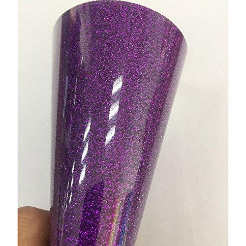 Eisen-maschine-kleidung (HOHO Maße 50x 30cm Lila Glitter Wärmeübertragung Vinyl Blatt HTV Blatt einfach zu Weed für T-Shirts Eisen auf Transferpresse Cricut-Maschinen)