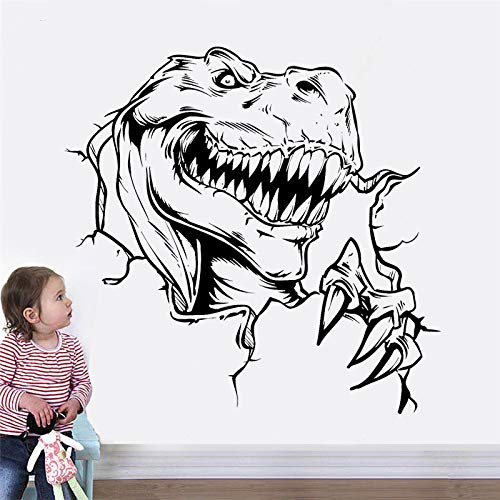 jiuyaomai Dinosauro Wall Sticker Vinile Home Decor per Camera dei Bambini Nursery Fantasy Horror Decalcomania Animale Rimovibile Murale Carta da Parati Nero 58x57cm
