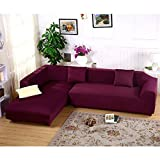 Jian Ya Na Extendable Sofa Covers Polyester Spandex Cover Polyester Fabric Stretch Slipcovers + 2pcs Pillow Cover for Sofa L Sofa Bean Red