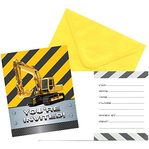 16-teiliges Einladungskarten-Set * CONSTRUCTION * für einen Baustellen-Kindergeburtstag oder Bauarbeiter-Mottoparty // Invites Einladungen Birthday