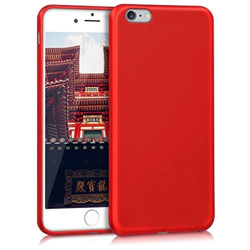 kwmobile Hülle für Apple iPhone 6 Plus / 6S Plus - TPU Silikon Backcover Case Handy Schutzhülle - Cover Metallic Rosegold .Metallic Dunkelrot