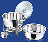 STAINLESS STEEL ROUND CHAFING DISH 8.5 LITRE GLASS LID
