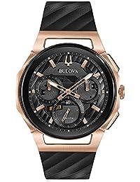 Men's Bulova Curv Chronograph Rose Gold-Tone Black Rubber Strap Watch 98A185