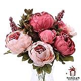 JUDY Künstliche Pfingstrose Seidenblumen Vintage Gefälschte Blumen Brautstrauß für Home