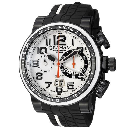 GRAHAM MEN'S SILVERSTONE 48MM BLACK RUBBER BAND AUTOMATIC WATCH 2BLCD.W04A
