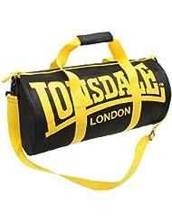 Lonsdale – Bolsa de deporte, color negro/amarillo – H26 x L52 x D26 cm