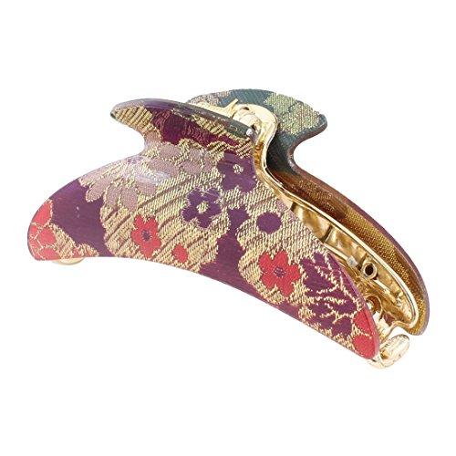 Haar Claw - SODIAL(R) Lametta Decor Gold Tone lila rotes Haar Kunststoffklammer fuer Damen