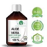 Aloe Vera Saft, flüssig, ohne Verdickungsmittel, gefiltert 100 prozent pur aloe vera Aloe Vera Gel Bio 100% Biologisch Kontrollierter Anbau - Flüssiger nativer Saft EINFÜHRUNGSANGEBOT - Feuchtigkeitspflege für die Haut - bei Sonnenbrand (100 ml)