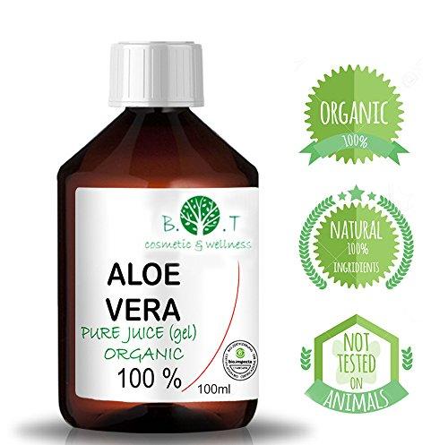 Aloe Vera Saft, flüssig, ohne Verdickungsmittel, gefiltert 100 prozent pur aloe vera Aloe Vera Gel Bio 100% Biologisch Kontrollierter Anbau - Flüssiger nativer Saft EINFÜHRUNGSANGEBOT - Feuchtigkeitspflege für die Haut - bei Sonnenbrand (100 ml) (Bio Aloe Pur)