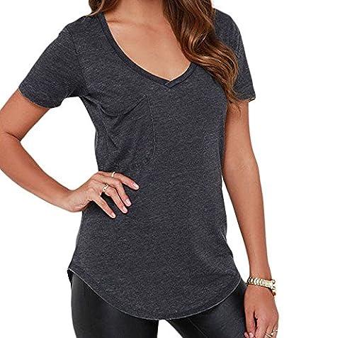Bling-Bling Summer Basic Pocket T-shirt(Grey,S)