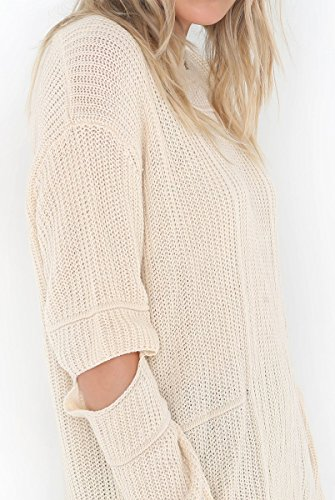 BLACKMYTH Femme Col Rond Tricot Chandail Manches Trou Longues Pull Sweater Abricot