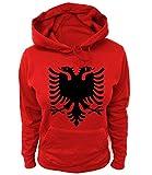 Artdiktat Damen Hoodie - Albanien Wappen Coat of Arms Pallto e Armëve, Größe XS, rot