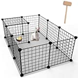 Youke Pet Playpen Includes Cable Ties, Metal Wire Apartment-Style Bunny Fence and Kennel, for Guinea Pigs, Bunnies, Rabbits,Puppies, 12 Panels