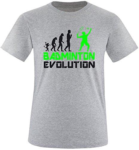 EZYshirt® Badminton Evolution Herren Rundhals T-Shirt Grau/Schwarz/Neongr