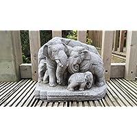 Thai elefanti Famiglia, decorazione da giardino in pietra Scultura/Statua/