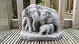 Garden Ornaments von onefold AN30Thai Elefanten Familie Stein Garten Ornament, grau, 13x 23x 18cm