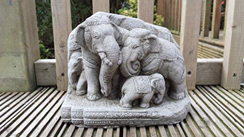 Garden Ornaments von onefold AN30Thai Elefanten Familie Stein Garten Ornament, grau, 13x 23x 18cm -