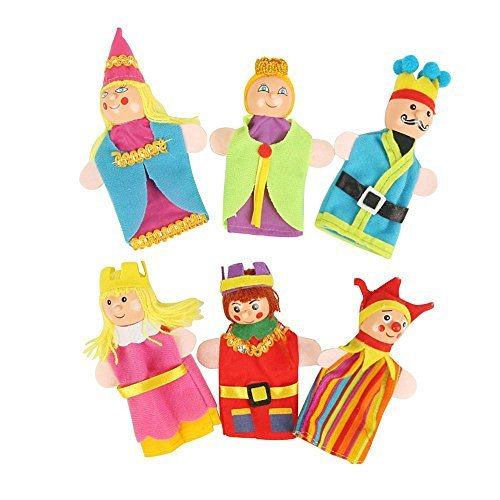 Clown Wizard Princess King Queen Finger Toy Puppets Royal Family Members Hand Puppet Set Educational Toys Best Gift for Kids Set of 6
