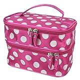 fenrad Portable Polka Dot Double-Layer Dual Reißverschluß Kosmetiktasche Kulturtasche Kulturbeutel Makeup Bag Toiletbag -- Pink + Weiß
