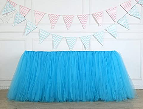 Tutu Table Skirt Tulle Table Cover for Baby Girls Princess Birthday Party Wedding Christmas Decorations Blue